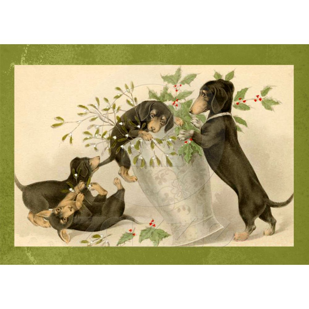 Vintage dachshund dogs christmas holiday card dachshunds christmas greeting ca1900 kristyandbryce Image collections