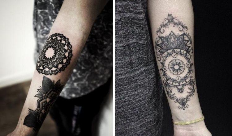 unterarm tattoo innenseite frau mandala blume kompass. Black Bedroom Furniture Sets. Home Design Ideas