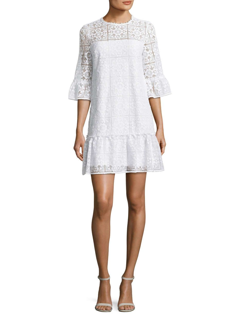 737b85565245 Kate Spade New York Lace Flounce Shift Dress Flouncy shift silhouette  shaped in delicate lace Illusion neckline Three-quarter length sleeves with  flared ...