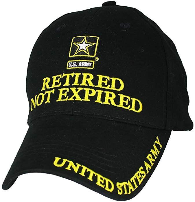 d5016b88387 Amazon.com  Eagle Crest U.S. Army Retired Not Expired Baseball Cap. Black