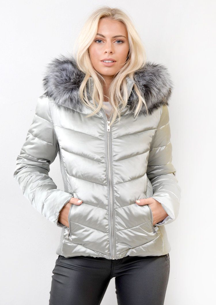 734b80c77 Detachable Hooded Padded Puffer Jacket Coat Silver Grey | JAPANESE ...