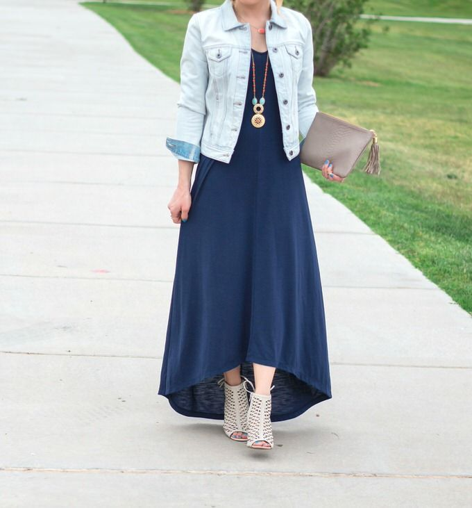 Boho Denim Jacket High Low Maxi Dress Glamour Zine High Low Maxi Dress Navy High Low Dress Maxi Dress