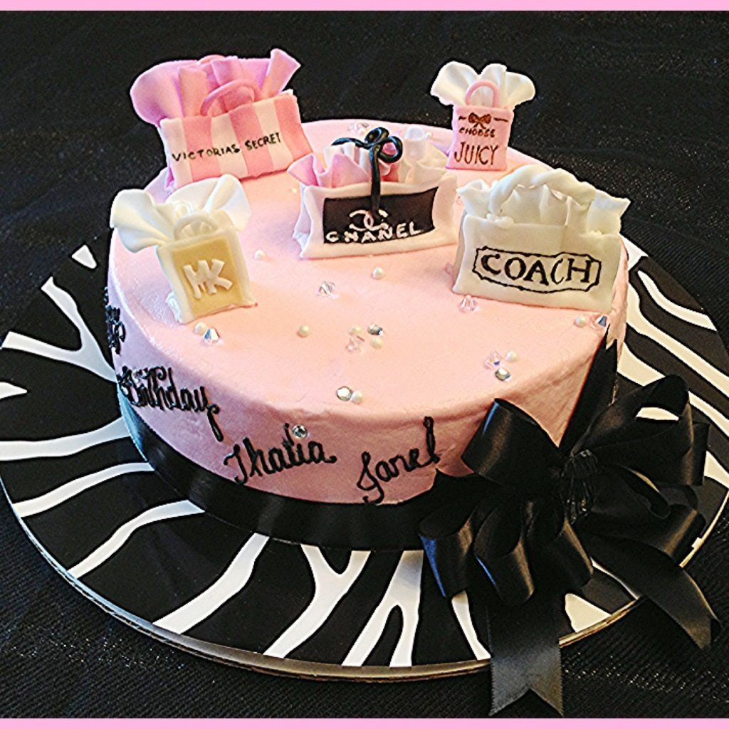 Fashionista birthday cake Shopping bags, Fashion pink cake ...