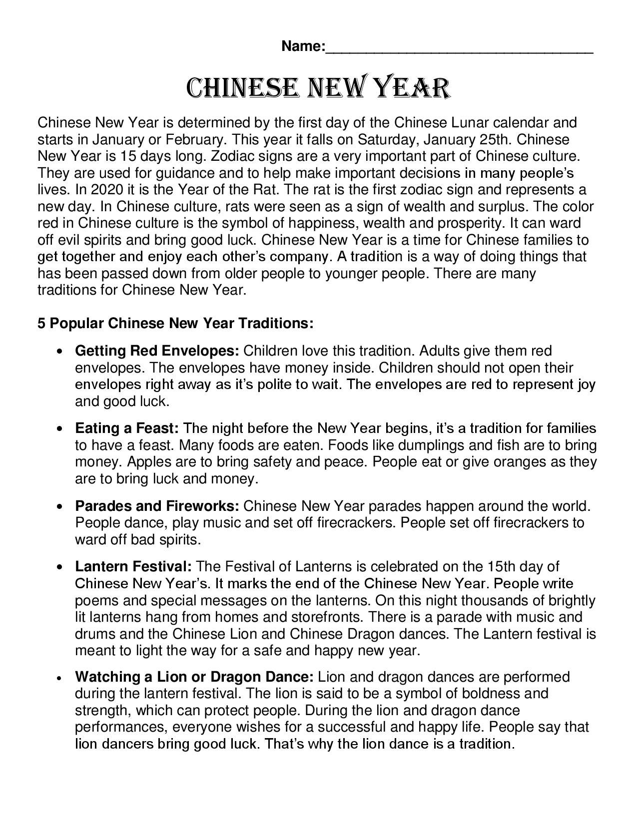 Chinese New Year 2020 Comprehension Passage & Quiz