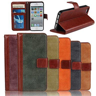 aito matta nupukkia naudannahkaa pu nahka läppä kansi lompakko korttipaikan kotelo jalustalla iPhone 5 / 5s (valikoituja värejä) – EUR € 10.23