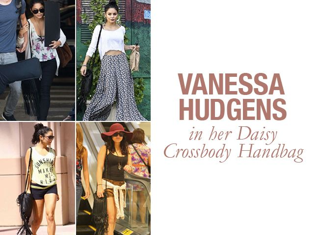 Vanessa Hudgens in her Daisy Crossbody Handbag. 4 great looks, 1 great bag. #starstyle #vanessahudgens