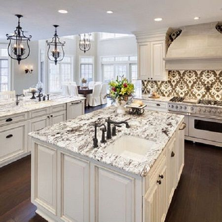 Luxury White Kitchens white spring granite | future home ideas and loves | pinterest