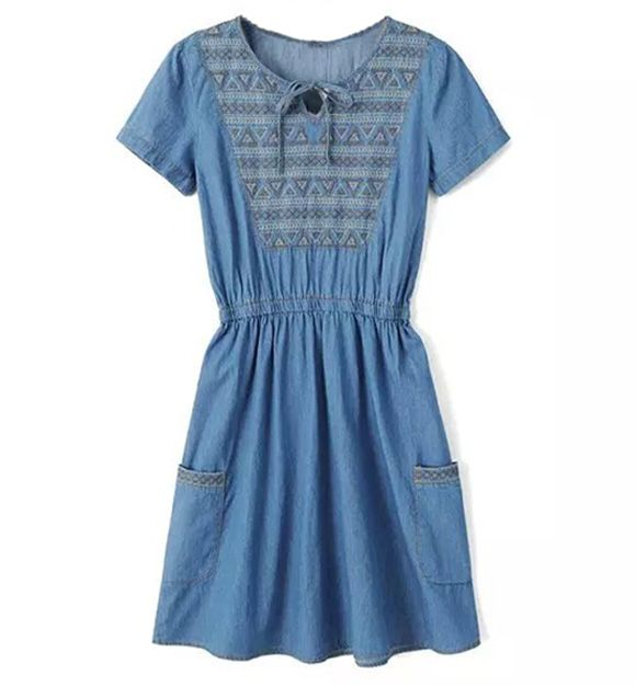 Denim Peasant Dress With Embroidered Detail