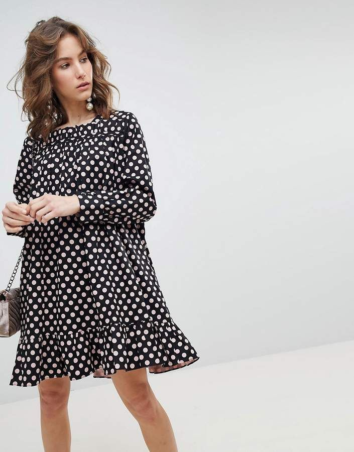 Sister Jane Long Sleeve Smock Dress With Peplum Hem In Oversized Polka Dot Sale Cost Outlet Get Authentic Buy Cheap Great Deals LsyxBjah