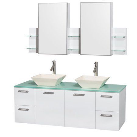 Wyndham Collection Amare 60 inch Double Bathroom Vanity in Glossy White, Green Glass Countertop, Pyra Bone Porcelain Sinks, and Medicine Cabinets