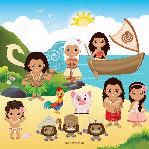 Moana clipart, Polynesian Princess clipart, Fairytale clipart, Cute