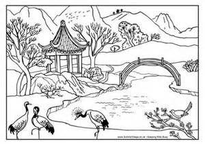 View And Print Chinese Scene Colouring Page Pdf File Coloring