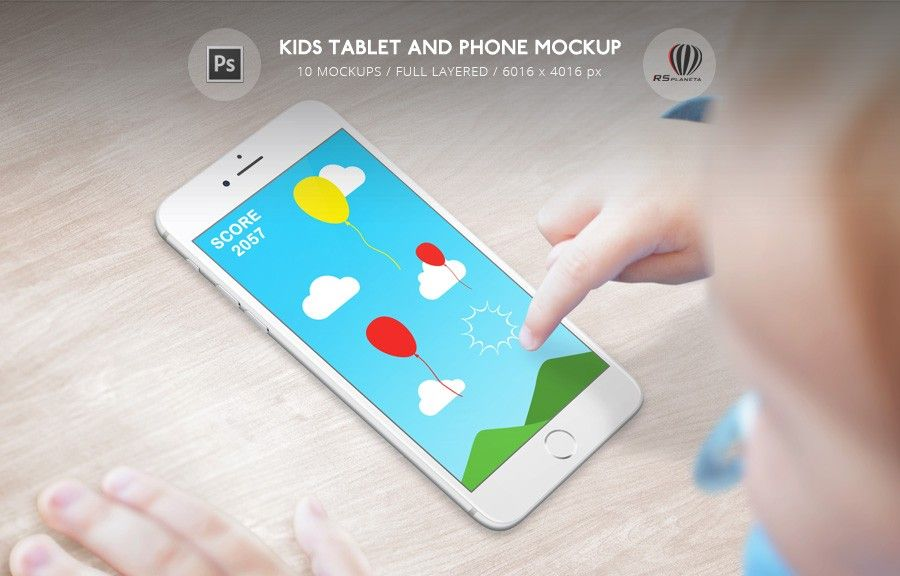 Kids Tablet And Phone Mockup Photoshop Psd File With 10 Mockups For App And Design Presentation On Mobile Devices Boy Holding Kids Tablet Phone Mockup Phone