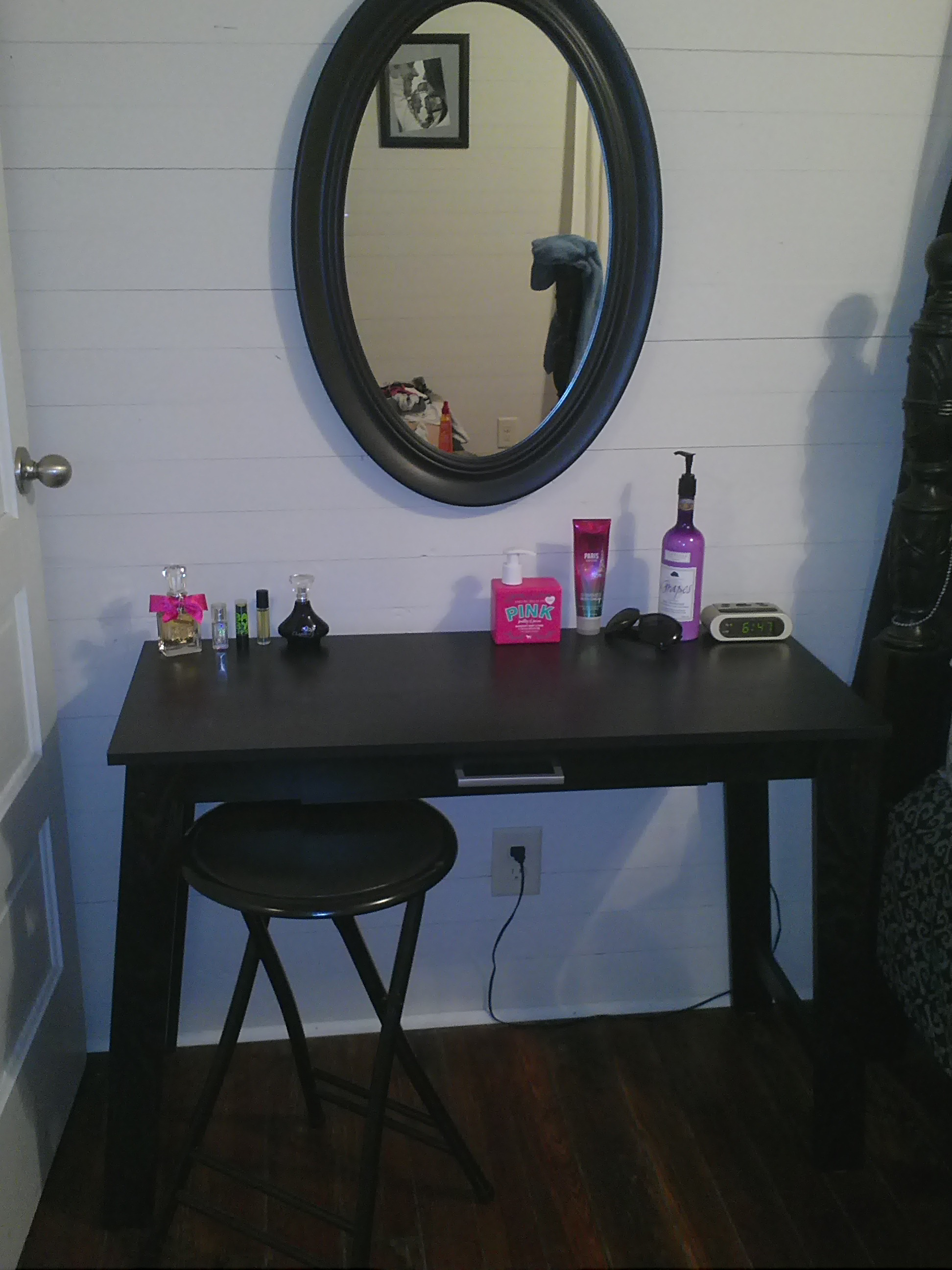DIY Vanity. Writing Table From WalMart $50. And Mirror To Hang Above. :