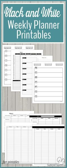 Free Black And White Weekly Planner Printables Weekly Planner Printable Printable Planner Weekly Planner