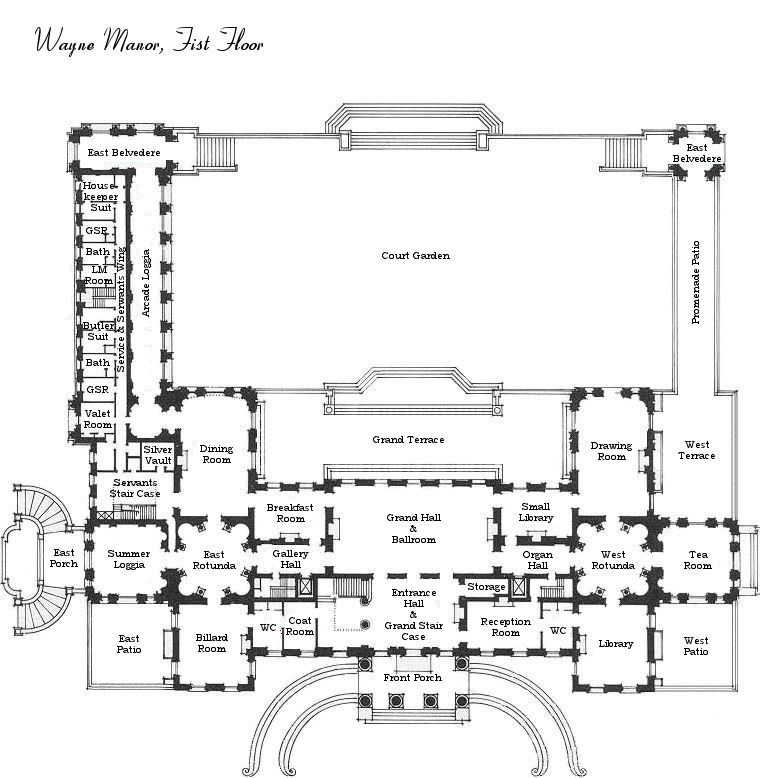 Wayne Manor First Floor Blueprint Mansion Floor Plan Floor Plans Architectural Floor Plans