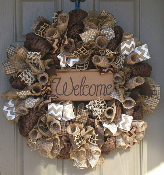 Welcome Wreath Front Door Earth By Checkereddaisy