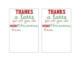 image about Thanks a Latte Christmas Printable known as Millie Morgan Media: because of a latte do it yourself trainer xmas