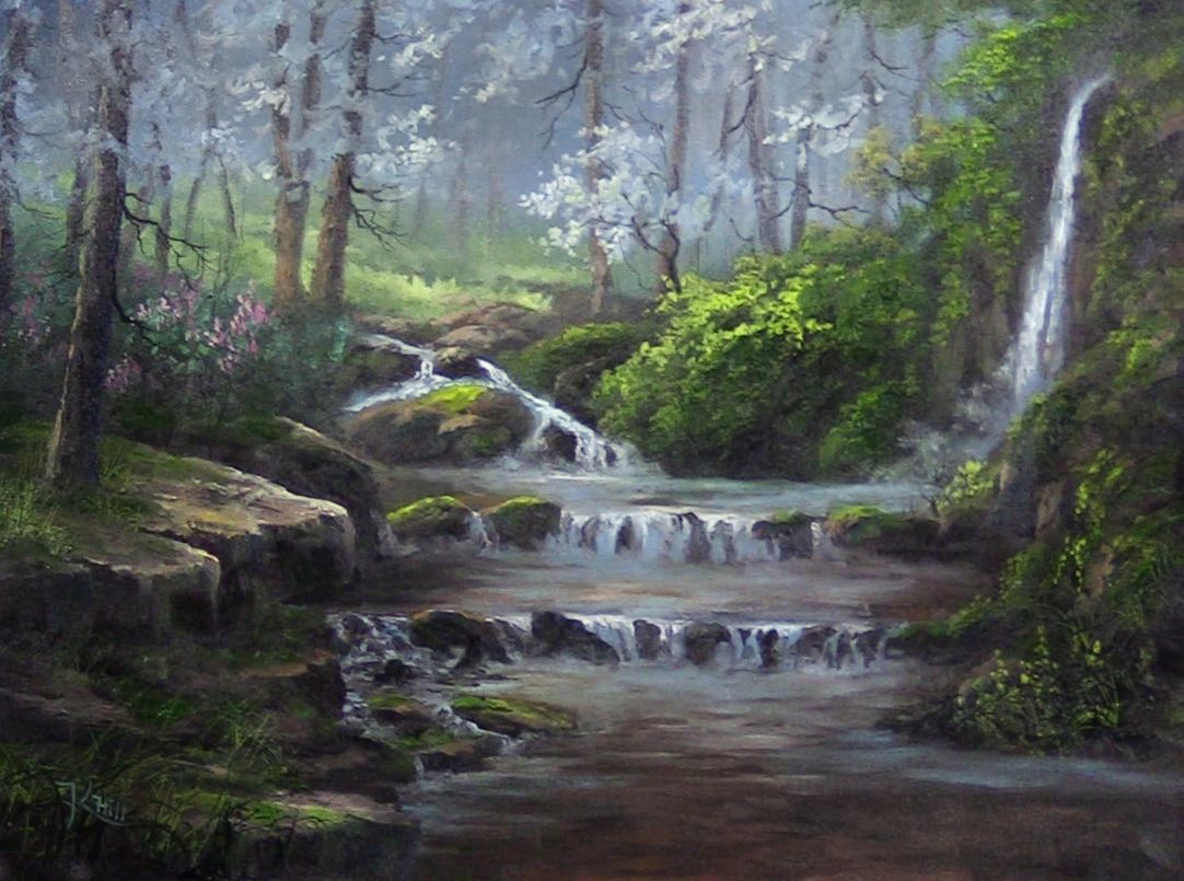 Waterfall Tropical Jungle Beautiful Nature FRAMED CANVAS PRINT Toile