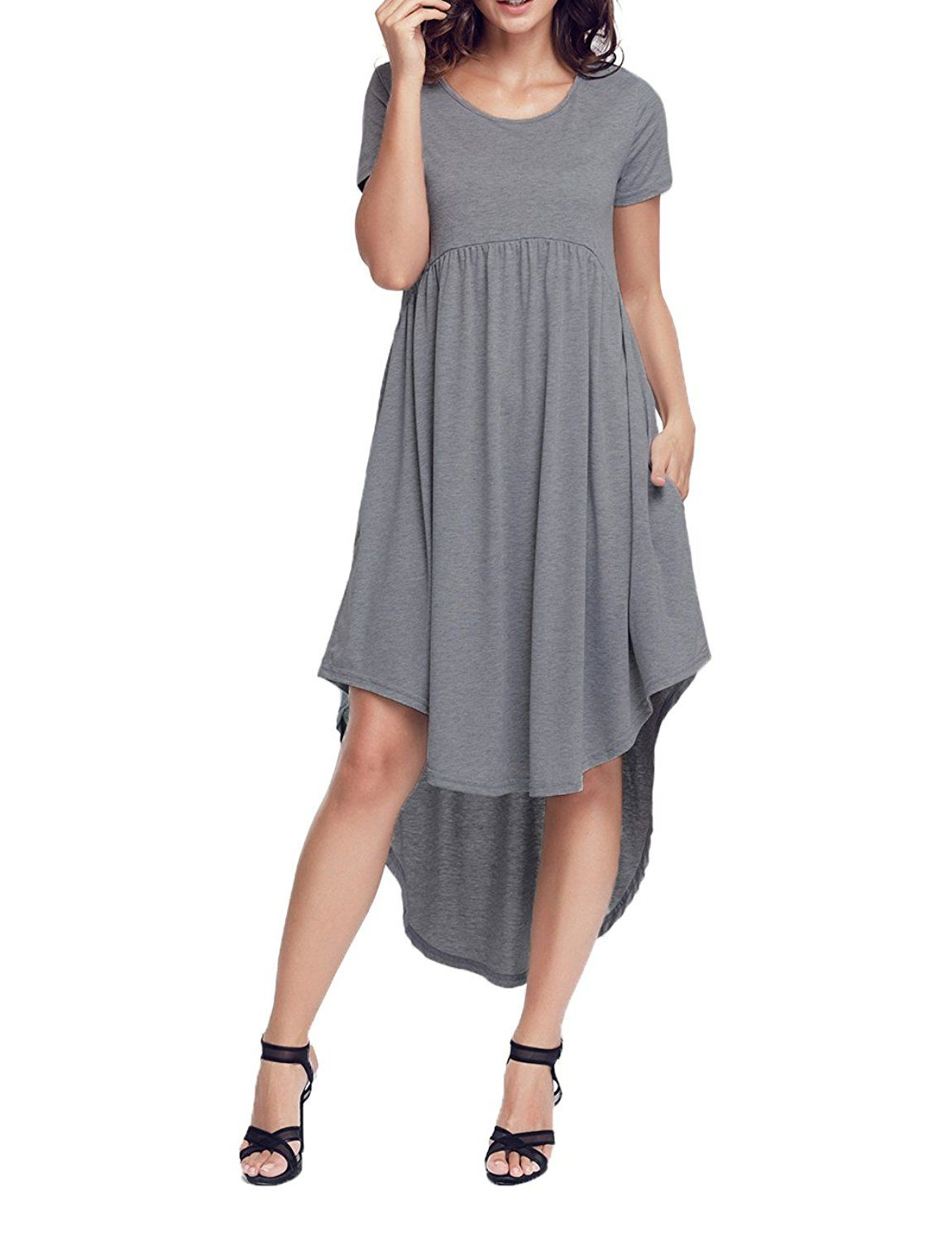 Fiyote women short sleeve high low draped swing loose casual midi