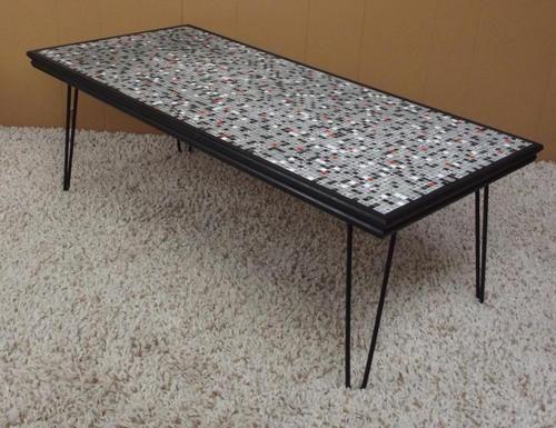 Vintage Mid Century Modern Mosaic Tile Coffee Table Hairpin Legs | eBay