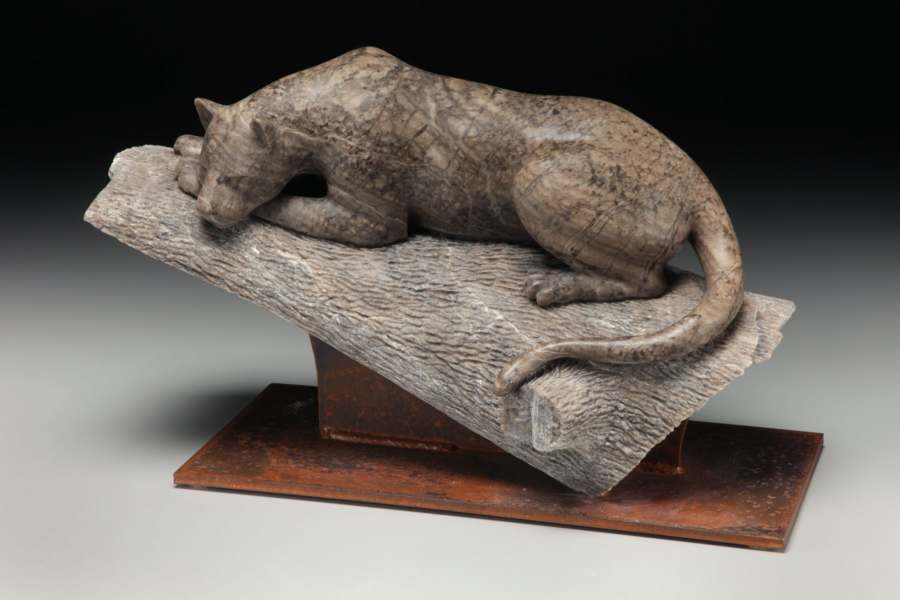 Out On A Limb An Alabaster Sculpture Of A Leopard By Dale Weiler