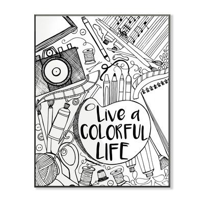 Diy coloring wall plaque live a colorful life graphic art adult diy coloring wall plaque live a colorful life graphic art adult coloring books pinterest adult coloring and coloring books solutioingenieria Choice Image