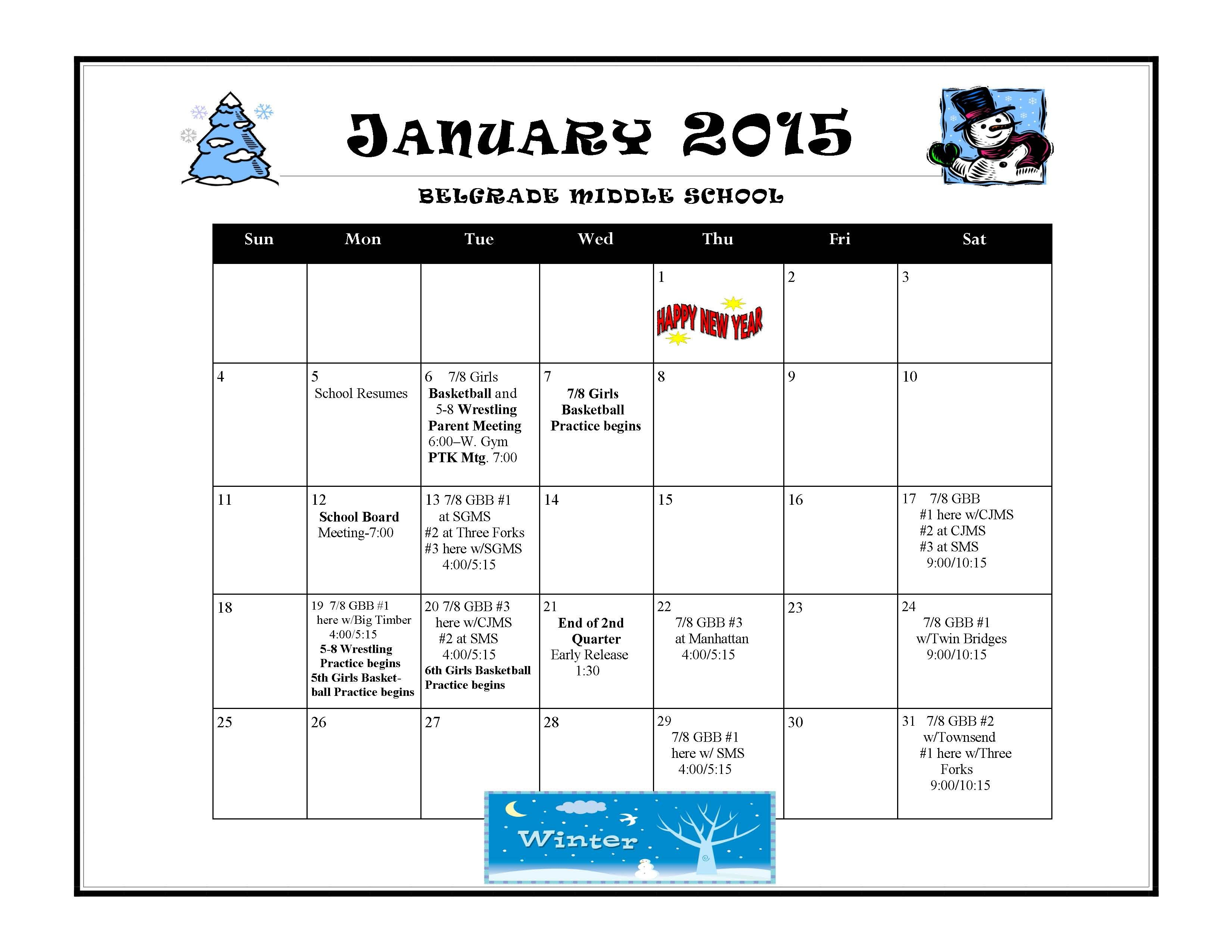 Middle School January 2015 Calendar (With images) Middle