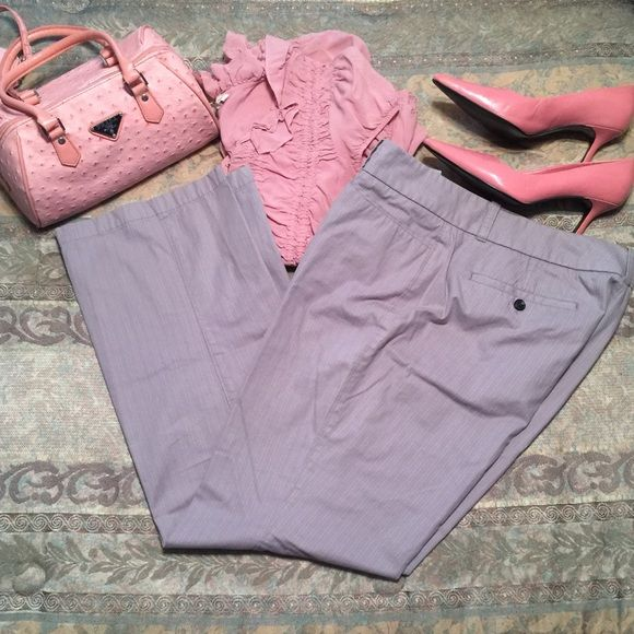 "Dockers Gray Pinstriped Dress Pants Sz 14 Dockers gray dress pants with pink and white pinstripes in Size 14. Measures 36""W x 31.5"" inseam. Mid rise. Cotton poly blend. Dockers Pants Trousers"