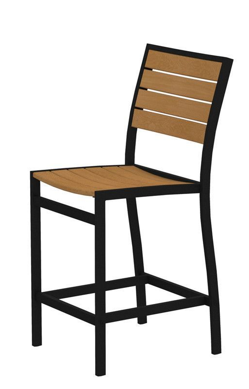 Polywood A101FABNT Euro Counter Side Chair in Textured Black Aluminum Frame / Plastique