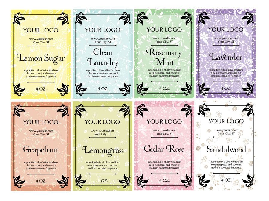 8 Soap Labels Packaging Premade Label Template Printable Customized You Print By Moonlilygraphics On Etsy