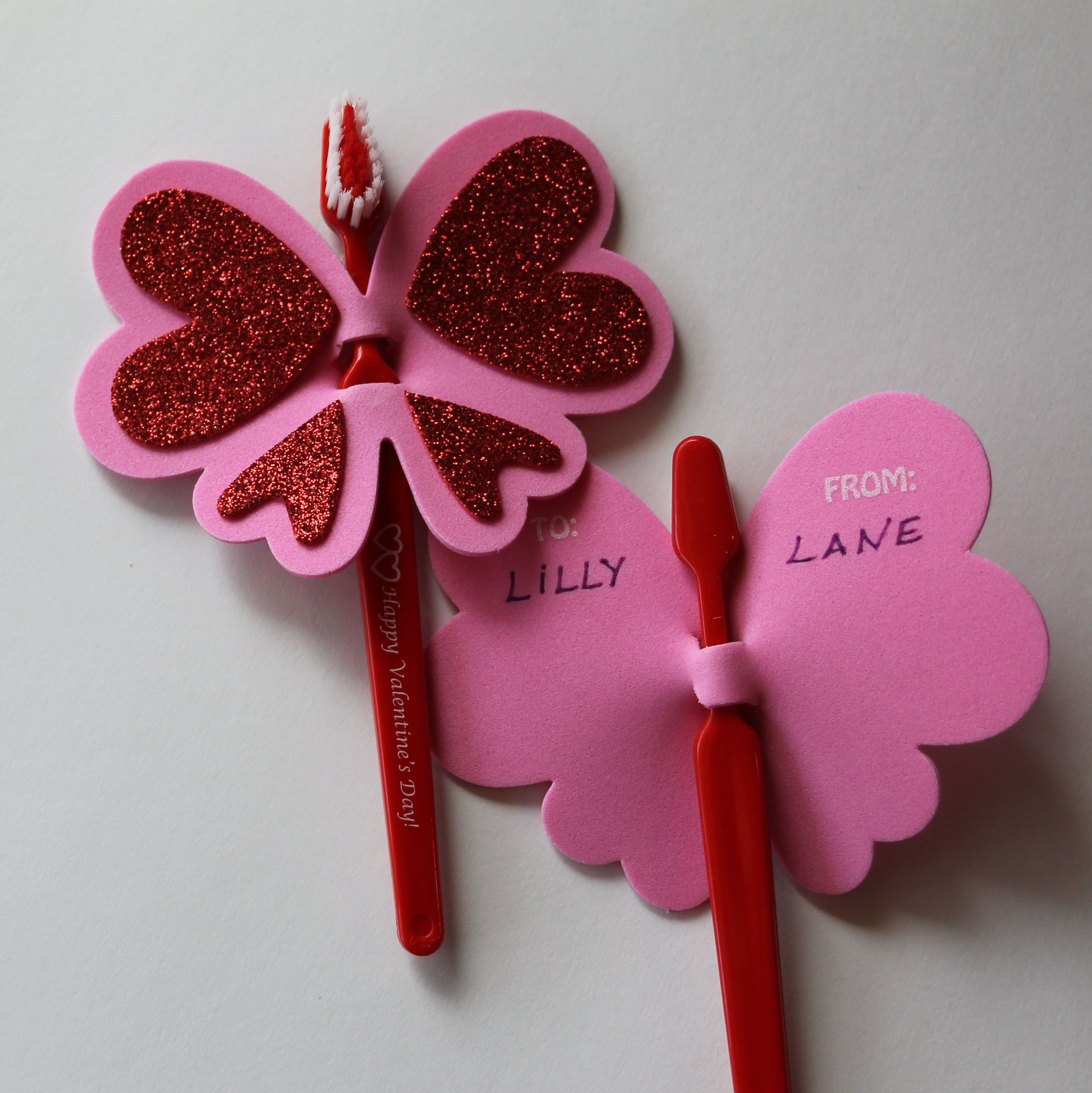 Valentines Day Toothbrush Butterfly for classroom card exchange