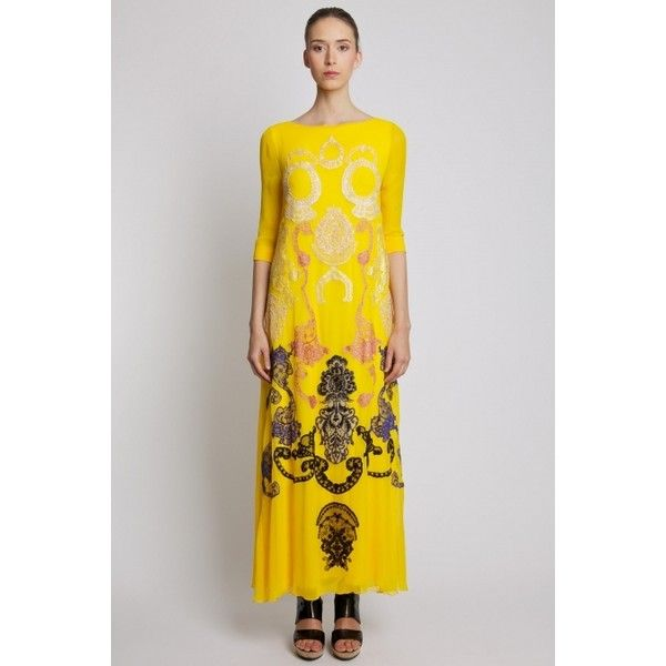 Ingrid Vlaslov | Long Dress with Embroidery Yellow