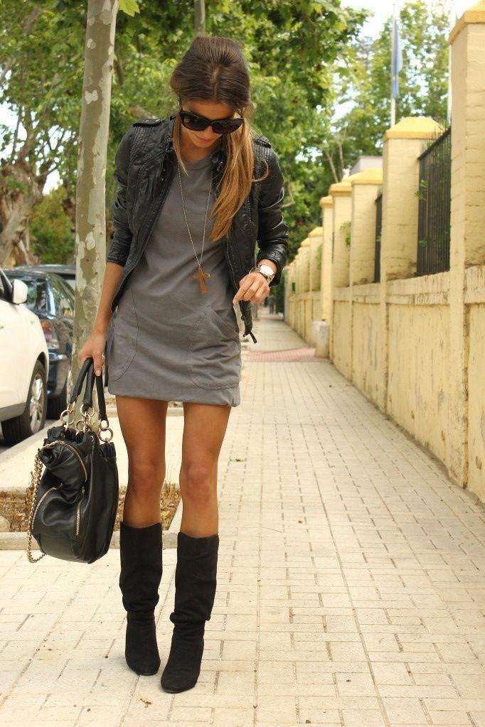leather jacket   gray dress   big, black, slouchy bag   black ...