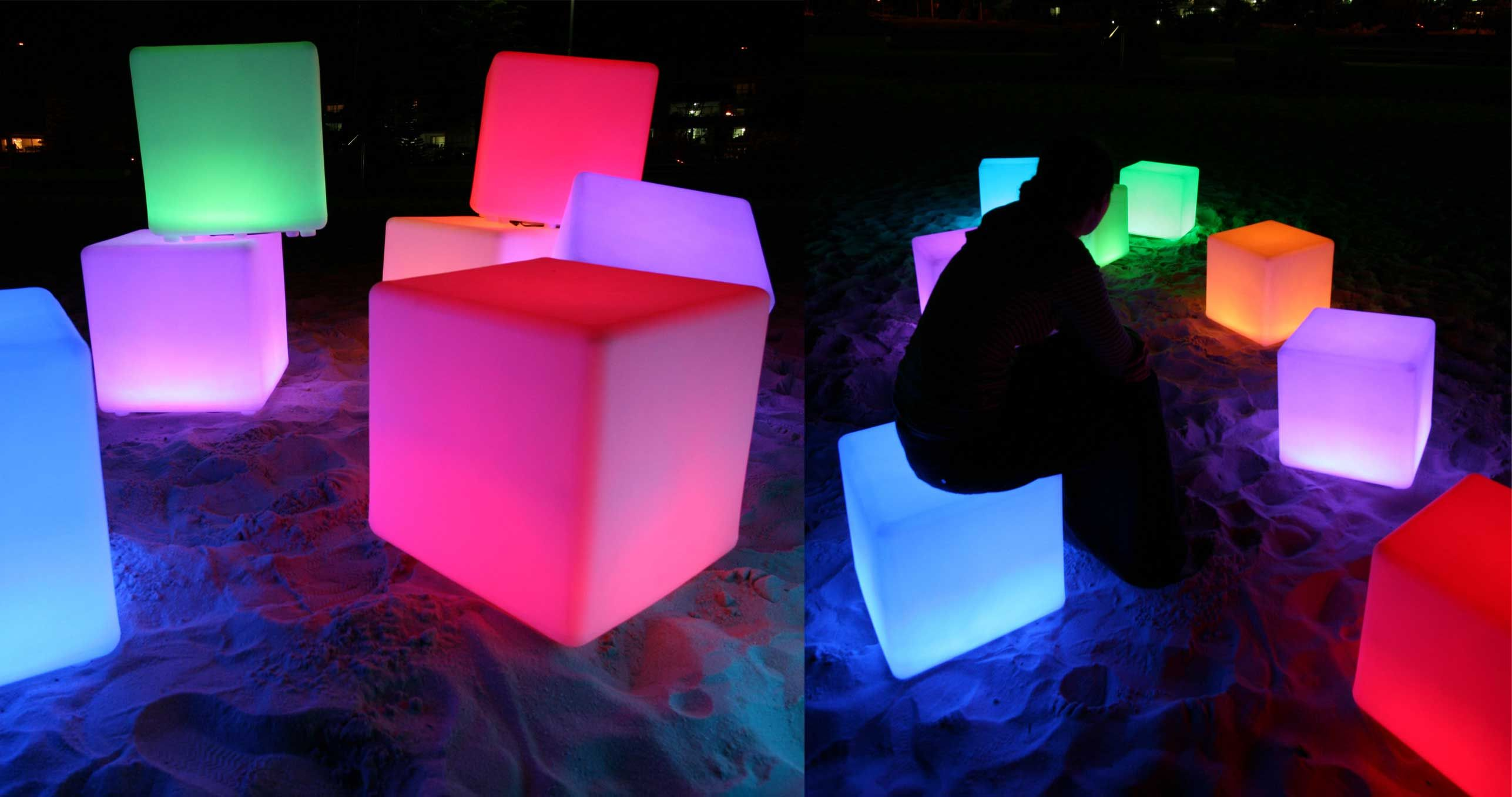 LED Light Up Rainbow Cube Chairs. Http://mobbsgroup.com/