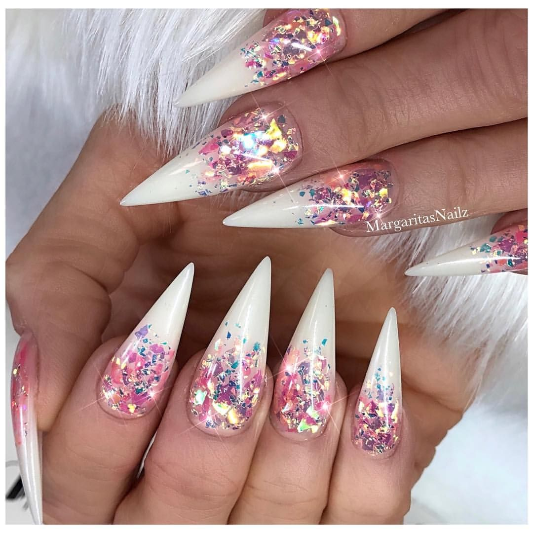 Glitter Ombr Stiletto Nails Bling Nail Art Design Summer Nails