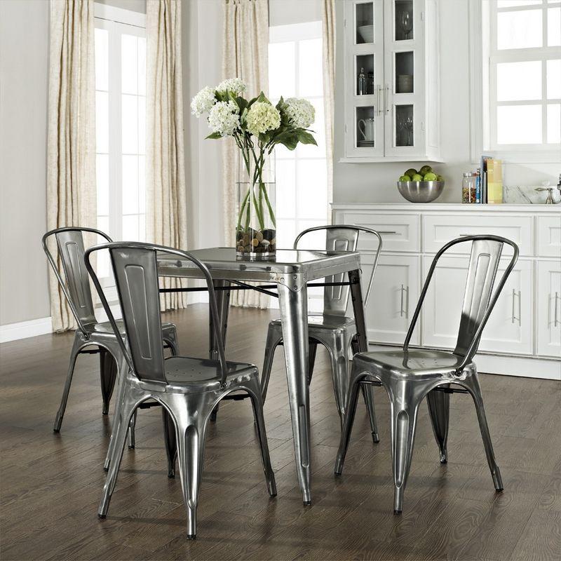 Amelia 5 Piece Metal Café Dining Set W/ Table U0026 Four Chairs In Galvanized.