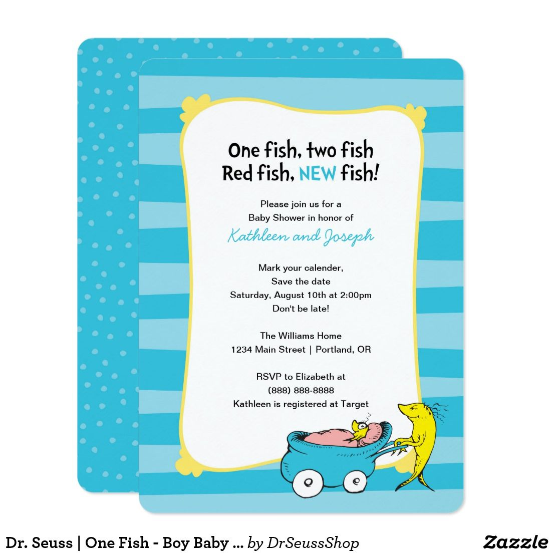 Dr. Seuss | One Fish - Boy Baby Shower Save The Date | Pinterest ...