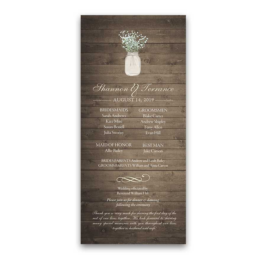Rustic mason jar wedding program order of service designed to