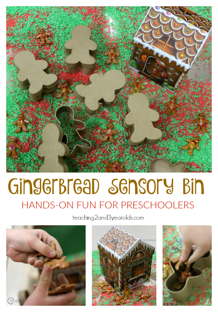 Scented rice, gingerbread men, and a gingerbread house create a fun Christmas gingerbread sensory bin for preschoolers.