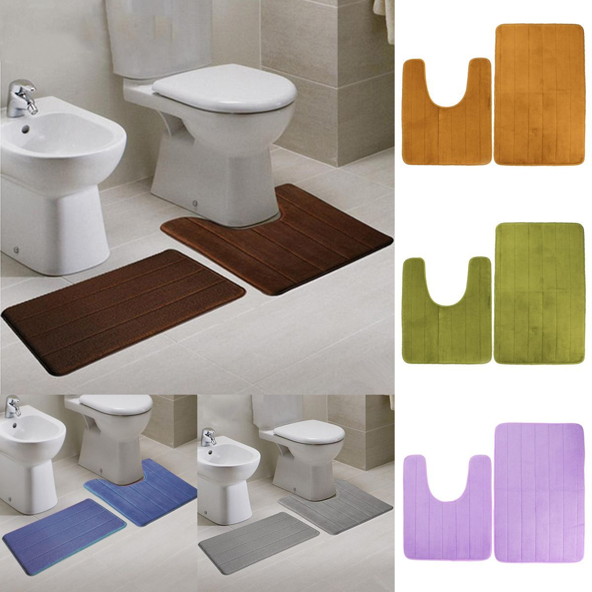 2pcs Super Absorbent Memory Foam Coral Velvet Toilet Mat Set Bathroom Rug Floor Feet Cushion Bathroomrugs Bathroom Rugs Floor Rugs Toilet Mat