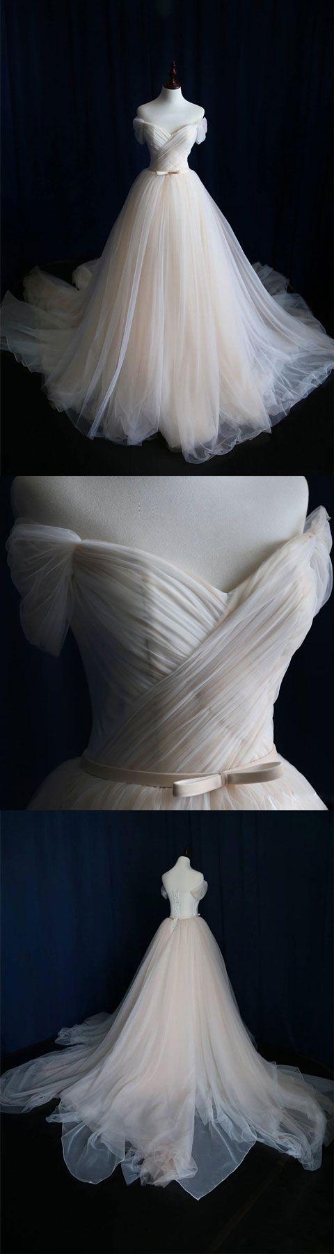 Light champagne tulle long prom dress, wedding dress ...