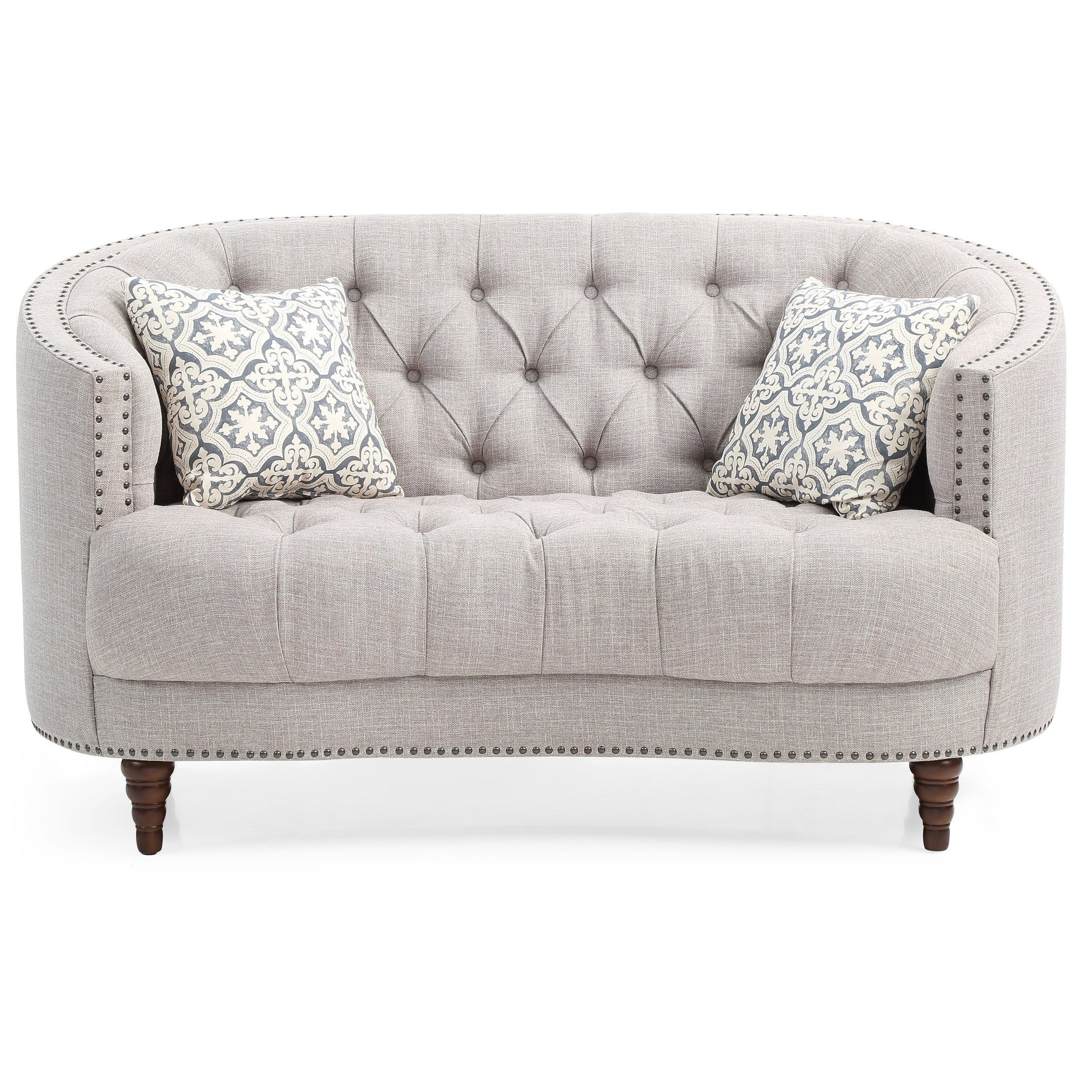 Lyke Home Grey Recessed Arms Button Tufted Loveseat Gray Online