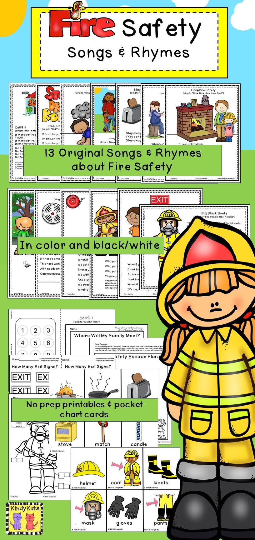 Fire Safety: Songs & Rhymes | Fire prevention month, Circle time ...