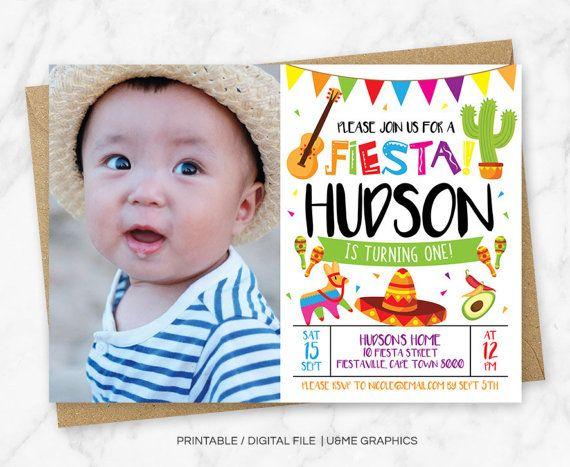 Fiesta Birthday Invitation First Invitations Digital