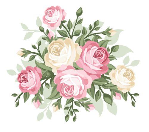 Elegant Flowers Bouquet Vector 01 Vector Flower Free Download Vector Flowers Vintage Roses Flower Art
