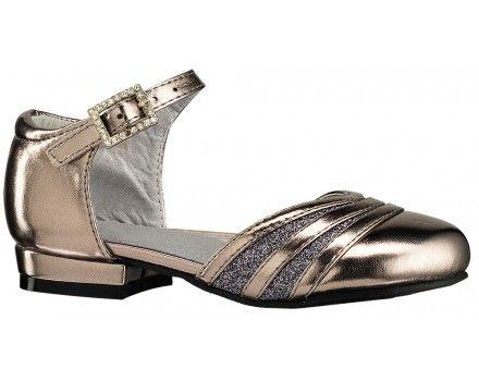 Smart pige laksko. Skoen er fint designet i guld med glimmer pynt på forfoden. Skoen kan med fordel bruges til fester og pænere arrangementer.