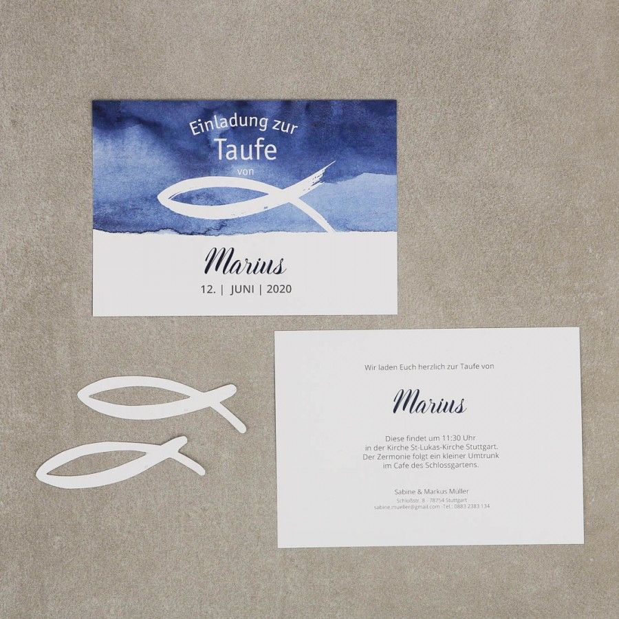 Ozean | Einladung Zur Taufe #einladung #taufe #feier #papeterie #auqarell