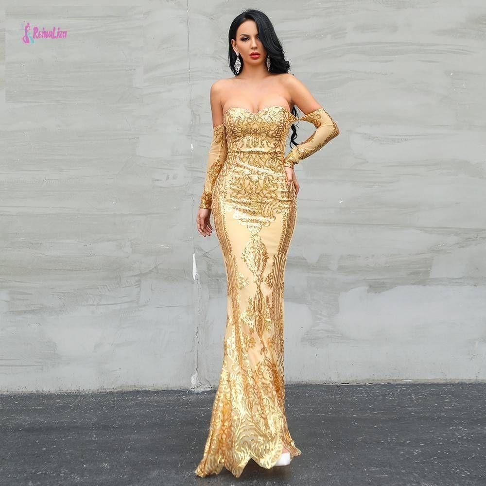 Reinaliza 2020 Off Shoulder Sequin Gold Backless Dress Long Sleeve Sequin Dress Maxi Dress Party Long Sleeve Sequin [ 1000 x 1000 Pixel ]