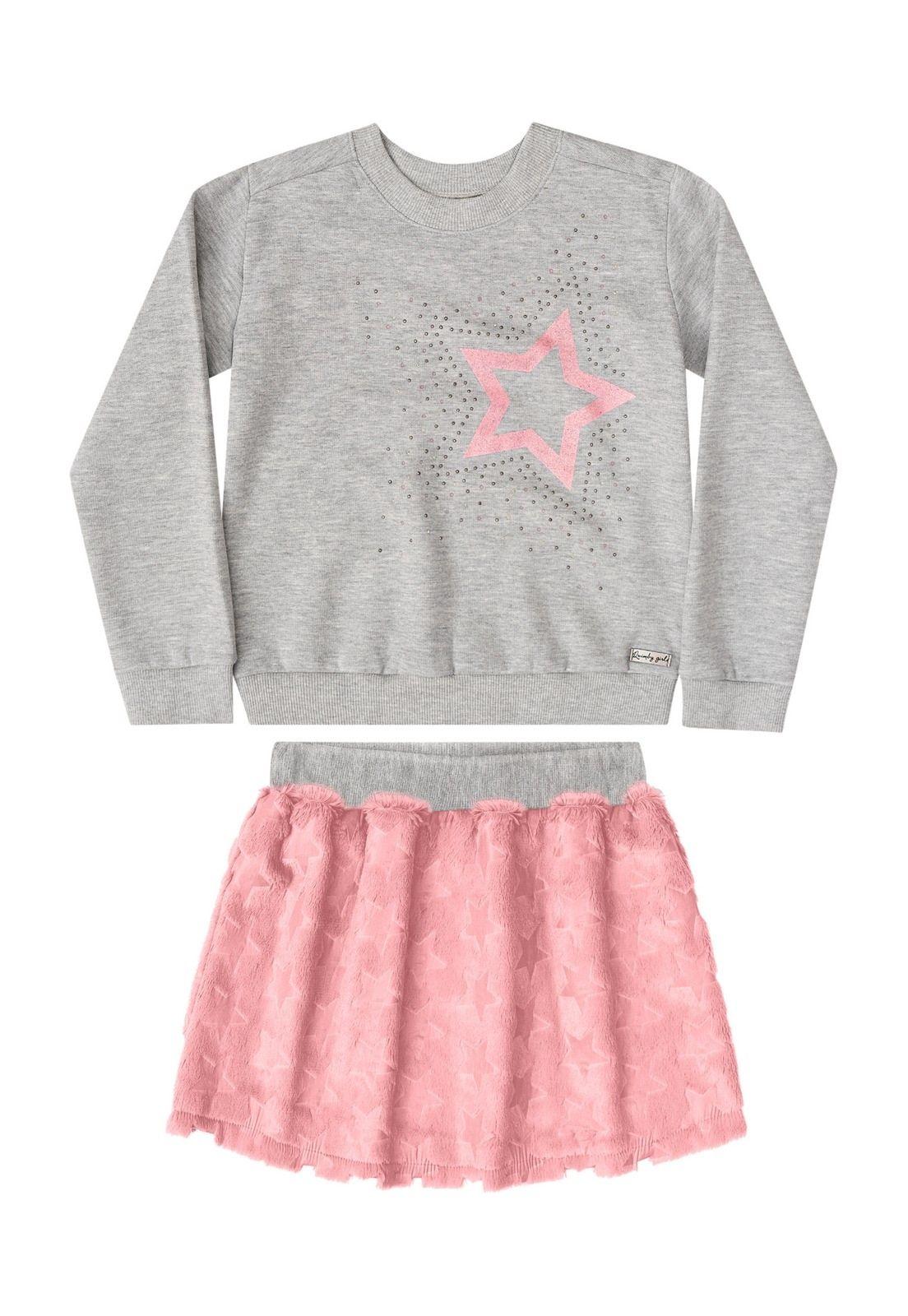 Conjunto Quimby Infantil Cinza   Idéias de moda, Pano e